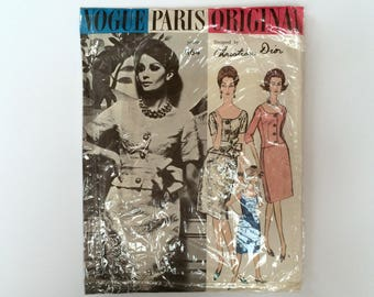 RARE FF Dior 1960s B38 Designer Dress and Jacket Sewing Pattern : Vogue Paris Original Chrisian Dior  1164