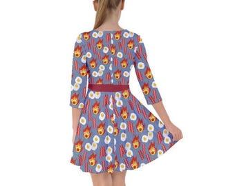 Calcifer Dress - Smock Dress Howls Moving Castle Dress  Ghibli Dress Plus Size Dress Magical Dress Anime Dress Fire Demon Dress