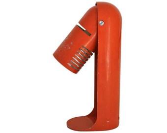 Italian space age desk lamp model 'flip top' by R. Carruthers for Leuka 1970s - vintage desk lamp - articulated desk lamp - orange desk lamp