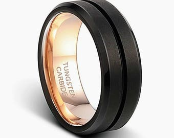mens black wedding ring black tungsten ring black bandmens womens wedding band - Womens Black Wedding Rings
