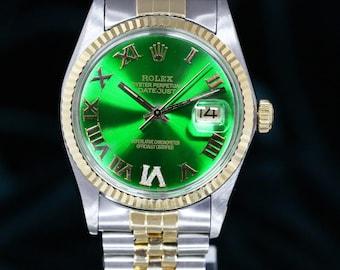Rolex Datejust 16013 Green Diamond Dial Fluted Bezel 36mm Watch