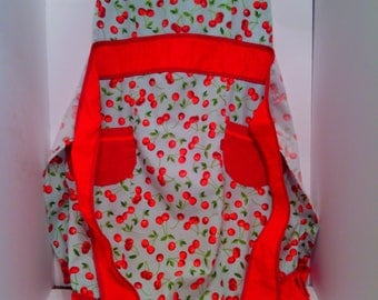 Vintage Frilly Full or Whole Apron Cherries on Light Aqua Printed Cotton Fabric