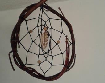 Authentic 4 inch handmade twisted red willow dreamcatcher w/ tigerskin jasper