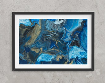 Abstract art print, glicee quality, limited edition, contemporary, deep blue, black, light blue, gold