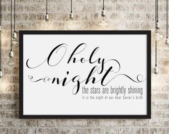 O Holy Night- Horizontal Modern Christmas Decor Print