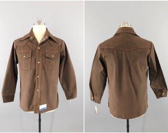 Vintage 1960s Shirt / 60s Big Yank Shirt / Brown Denim / NOS With Tags / Camp Shirt / Pearl Snap Buttons /  Denim Country Shirt / Large 42