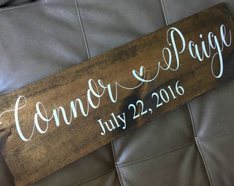 Family Established Sign, Relationship Sign, Wooden Sign, First Name Sign, Wedding Date Sign, Wedding Gift,  7x24