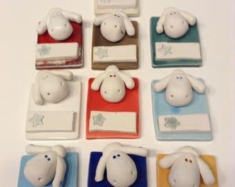 Customizable ' sheep' glazed earthenware figurine