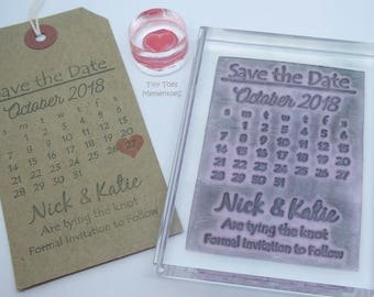 Save the Date Personalised Wedding Stamp, Calendar Stamp, Invitation Stamp, UK