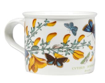 FREE SHIPPING: Portmeirion Botanic Garden Vintage Coffee Mug-Tea Cup - Broom Pattern