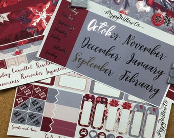 Festive Florals Silver Foiled September to February Classic HAPPY PLANNER MONTHLY Spread Decorative Sticker Set