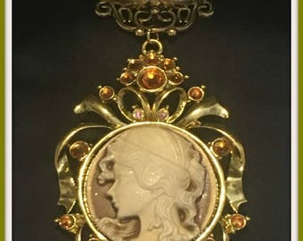 Antique Gold Victorian Style Cameo Scarf Jewelry