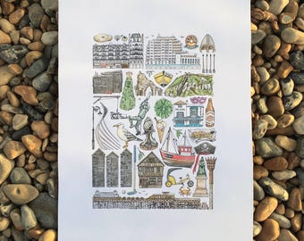 HASTINGS & ST LEONARDS A3 Art Print / Colour or Black and White Line Drawing // Illustration Poster // Pier Architecture Jack in the Green
