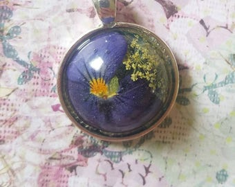 Beautiful blue Pansy and Queen Ann's Lace pendant made with real flowers.