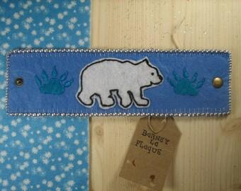 """Felt """"polar bear"""" Cuff Bracelet"""