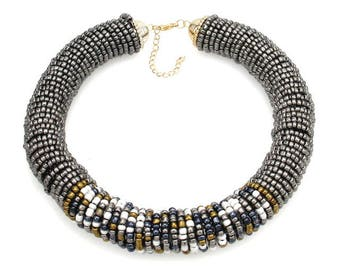 Silver and Multi Coloured Beaded Chunky Choker Necklace