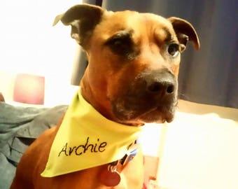 Personalised hand embroidered dog bandanas