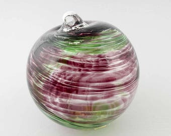 "2 Sisters Purple and Green Swirled Hand Blown 4"" Gazing Ball Ornament B872"