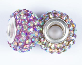2 beads style European o15 with iridescent crystals