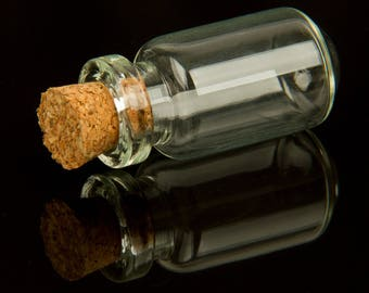 Set of 5 mini-fioles glass with Cork (27x13mm) - 89103