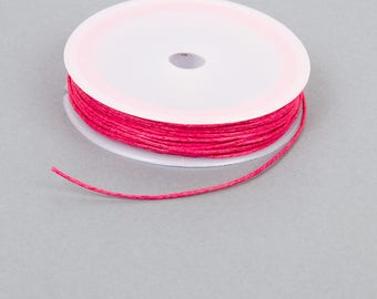 Spool of 10 meters of waxed thread 1 mm hot pink