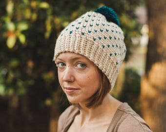 Fair Isle Heart Beanie--Cream and Teal--Adult