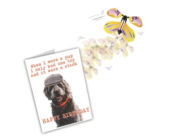 Funny Birthday Card. Dog Card. Birthday Card From Dog. Card For Dog Lovers Owners. Card From Pet. Funny Dog Card. Magic Flying Butterfly