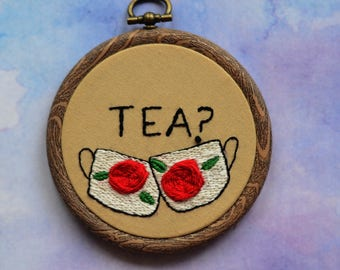 """Tea? hand embroidery hoop art lettering in 3"""" hoop. Home decor; embroidered art; floral rose design"""