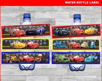 Disney Cars 3 water bottle labels Instant download, Cars Chalkboard water labels, Disney Cars party water labels
