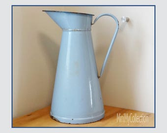 "Blue French Enamel water pitcher or jug -  ""broc emaille""  in a beautiful Provencal blue -"