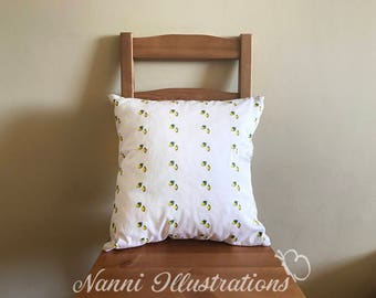 Cushion cover+Inner pillow with Lemon Watercolor Art