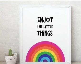 rainbow wall art,Rainbow,rainbow art,rainbow illustration,rainbow print,QUOTE,rainbow nursery,girl wall art,enjoy little thingsnursery print