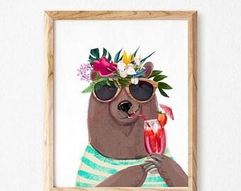 Bear nursery decor, Nursery bear illustration, Bear nursery decor, Bear baby art, Bear nursery wall art ,baby boys, baby girls, Studio mini