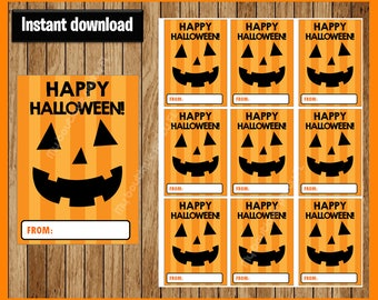 Pumpkin Happy Halloween Thank You Tags - Halloween Tags - Halloween Favor Tags - Halloween Gift Tags -Halloween Treat Tags