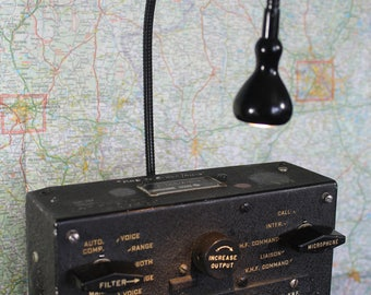 Aviation Lamp made from Interphone system from a C 47, industrial lamps and lighting, steam punk lamp