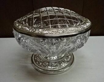 Beautiful Cut Glass Rose Bowl/Flower Bowl/EP on Zinc/Vintage