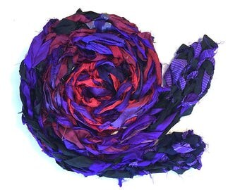 Purple and red handmade scarf