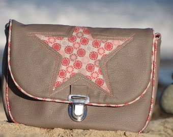 Taupe leather Messenger bag and old pink print