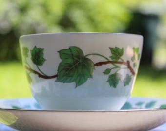 Vintage Teacup by Crown Staffordshire, Green Vine Pattern