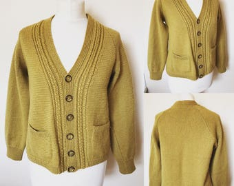 Vintage Mustard Yellow Hand Knitted Cardigan - UK Size 16/US Size 12