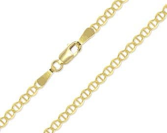 "14K Solid Yellow Gold Mariner Bracelet 2.7mm 7"" - Anchor Chain Link"
