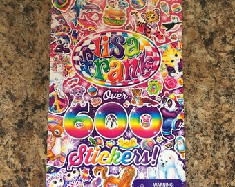 lisa frank sticker booklet ~ over 600 stickers!! for collectors, resin, art, craft supply 80s 90s neon rainbow stickers