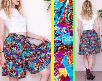 High Waisted Skirt, Vintage Culottes, Tribal Print Shorts, Highwaisted Shorts, Skort, Pocket Shorts, 90s Vintage, Grunge, UK, 12, 14, 8, 38