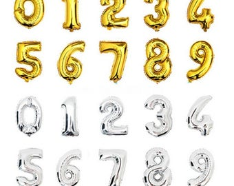 16 inch Gold or Silver 1-9 Number Balloons,Helium balloons