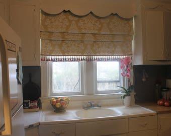 Custom Roman Shade, Blind, Window Treatment, Curtain. Fabric included.