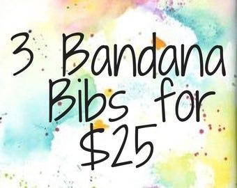Handmade Bandana Bibs Set of 3 Teething Bibs