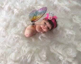 OOAK Beautiful Handmade Polymer Clay Mini Woodland Baby Fairy