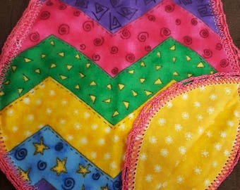 Multi color, chevron baby burp cloth with crocheted edging