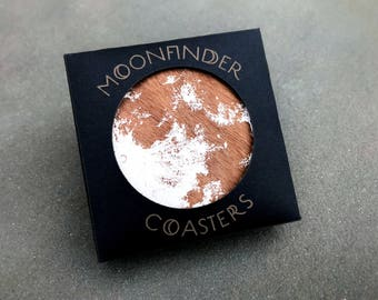 Moon Coasters - Wood White Full Moon Personalized Custom Gift Barware Space Science Natural (Set of 4)