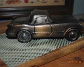 vintage 1974 cast metal 1953 chevy corvette coin bank